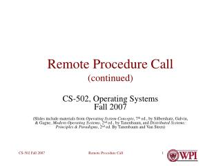 Remote Procedure Call (continued)