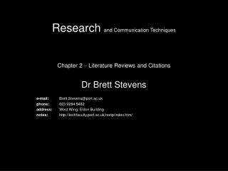 Research  and Communication Techniques