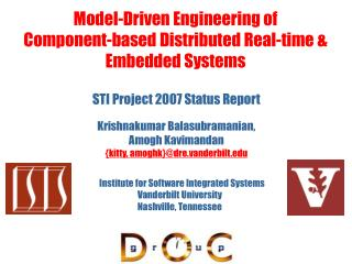 Model-Driven Engineering of  Component-based Distributed Real-time & Embedded Systems