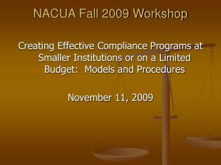 NACUA Fall 2009 Workshop