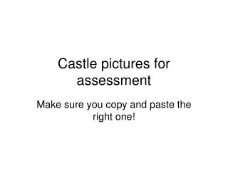 Castle pictures for assessment