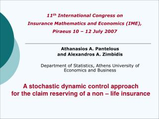 A stochastic dynamic control approach  for the claim reserving of a non – life insurance
