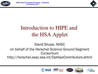 Introduction to HIPE and  the HSA Applet