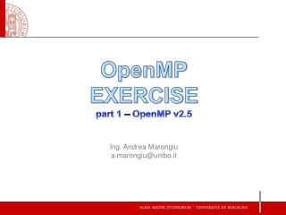OpenMP EXERCISE part 1 – OpenMP v2.5