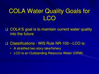 COLA Water Quality Goals for LCO