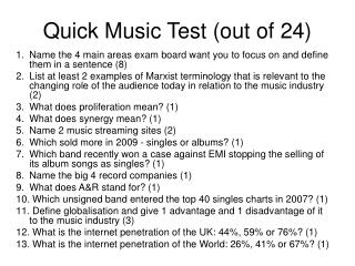 Quick Music Test (out of 24)