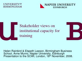 Stakeholder views on institutional capacity for training