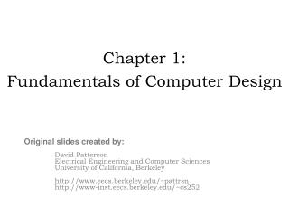 Chapter 1: Fundamentals of Computer Design