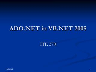 ADO.NET in VB.NET 2005