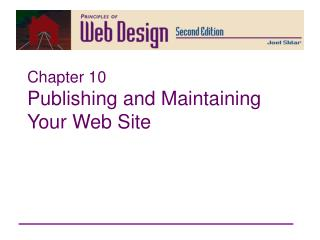Chapter 10 Publishing and Maintaining Your Web Site