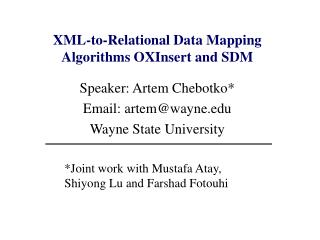 XML-to-Relational Data Mapping Algorithms OXInsert and SDM