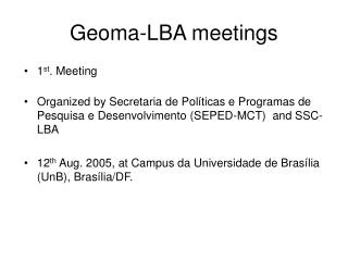 Geoma-LBA meetings