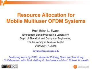 Resource Allocation for Mobile Multiuser OFDM Systems