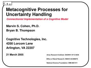 Metacognitive Processes for Uncertainty Handling