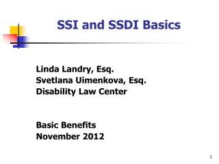 SSI and SSDI Basics