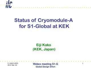 Status of Cryomodule-A  for S1-Global at KEK