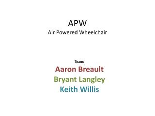 APW Air Powered Wheelchair