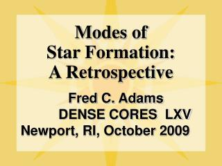 Modes of Star Formation: A Retrospective