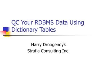 QC Your RDBMS Data Using Dictionary Tables