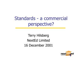 Standards - a commercial perspective?