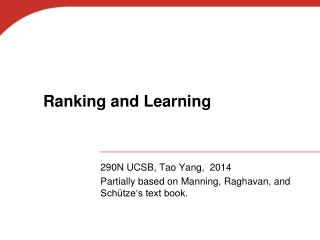 Ranking and Learning