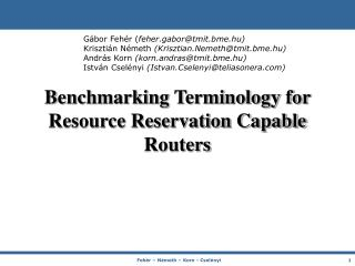 Benchmarking Terminology for Resource Reservation Capable Routers