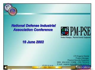 National Defense Industrial Association Conference 19 June 2003