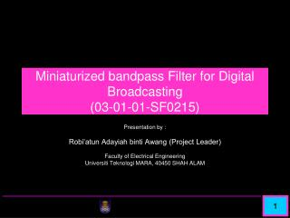 Miniaturized bandpass Filter for Digital Broadcasting ( 03-01-01-SF0215)