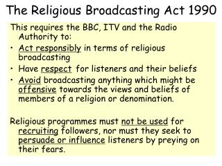 The Religious Broadcasting Act 1990