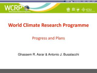 World Climate Research Programme Progress and Plans