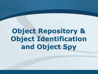 Object  Repository Lesson