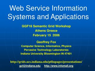Web Service Information Systems and Applications