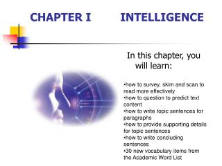 CHAPTER I INTELLIGENCE