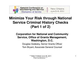 Minimize Your Risk through National Service Criminal History Checks (Part 1 of 2)