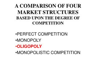 A COMPARISON OF FOUR MARKET STRUCTURES BASED UPON THE DEGREE OF COMPETITION