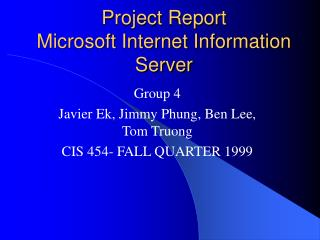 Project Report Microsoft Internet Information Server