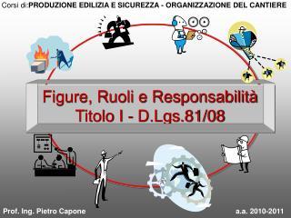 Figure, Ruoli e Responsabilità Titolo I - D.Lgs.81/08