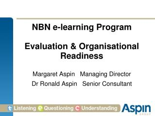 NBN e-learning Program  Evaluation & Organisational Readiness