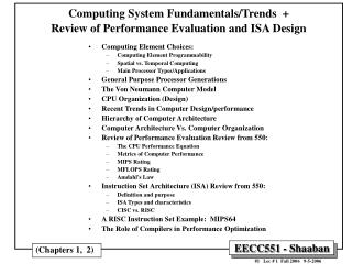 Computing System Fundamentals/Trends  +  Review of Performance Evaluation and ISA Design