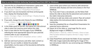 How to use this SPARKlab Authoring Template ( PowerPoint 2007 for Windows)