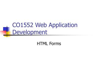 CO1552 Web Application Development