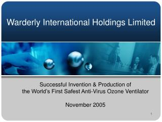 Successful Invention  & Production  of  the World's First Safest Anti-Virus Ozone Ventilator