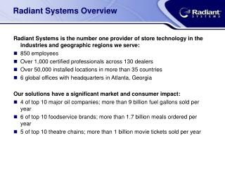 Radiant Systems Overview
