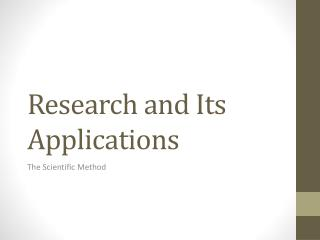 Research and Its Applications