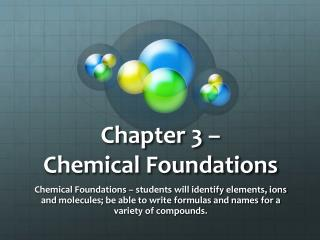 Chapter 3 –  Chemical Foundations