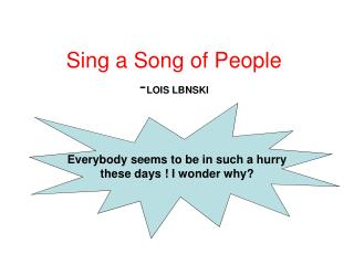 Sing a Song of People - LOIS LBNSKI