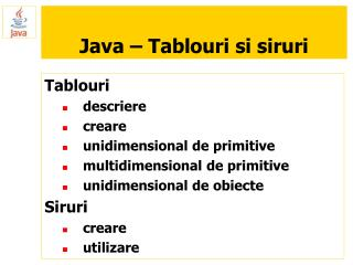 Java – Tablouri si siruri