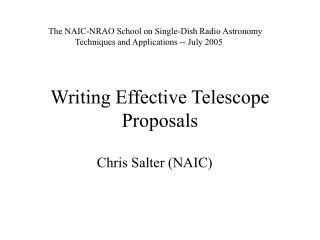 Writing Effective Telescope Proposals