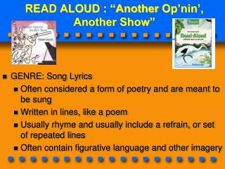 "READ ALOUD : ""Another  Op'nin ',  Another Show"""