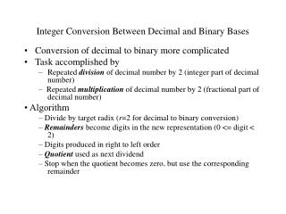 Integer Conversion Between Decimal and Binary Bases
